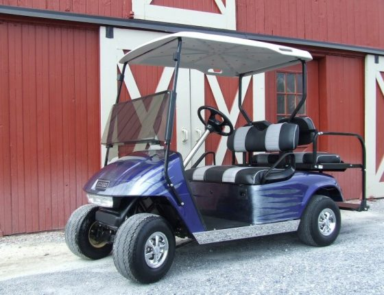 purple golf cart for sale sitting in front of red barn